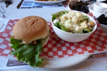 Lobster burger, D&T Restaurant, Twillingate, NL June 2016