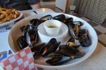 Freshly steamed local mussels,D&T Restaurant, Twillingate, NL June 2016
